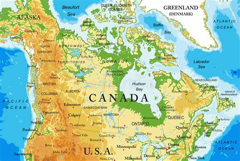 map of canada physical physical map of canada stock vector image of illustration