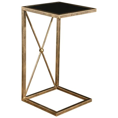 Black Glass Side Table Modern Classic Antique Gold Black Glass Side Table Kathy Kuo Home
