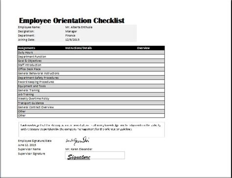 new employee template employee orientation checklist template word excel