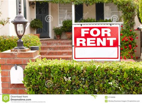 best time to rent a house house with for rent sign stock photo image of