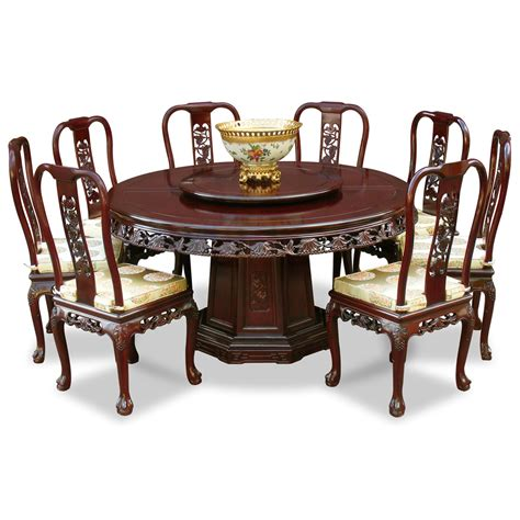 8 Chair Dining Table Sets 60in Rosewood Grape Motif Dining Table With 8 Chairs