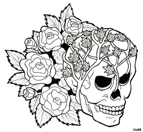 coloring pages of skulls and roses coloring best free