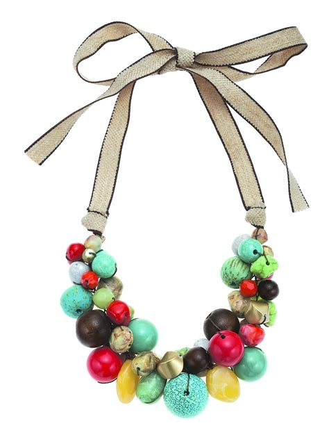 boho glam coral turq gold chunky bead necklace on linen