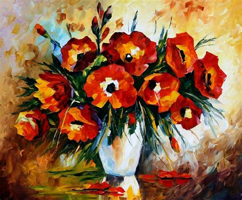 paintings of flowers red flowers palette knife oil painting on canvas by