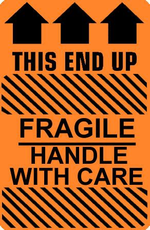 this end up caution fragile handle with care this end up label