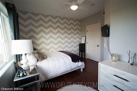 chevron decorations for bedroom an enchanting chevron stenciled bedroom stencil stories