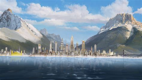 digital art painting mountain lake bridge cityscape