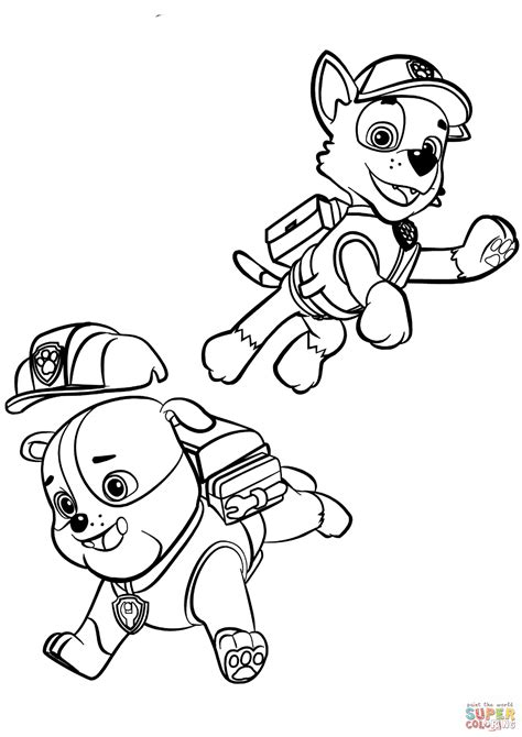 coloring pages paw patrol rocky paw patrol rubble and rocky coloring page free printable
