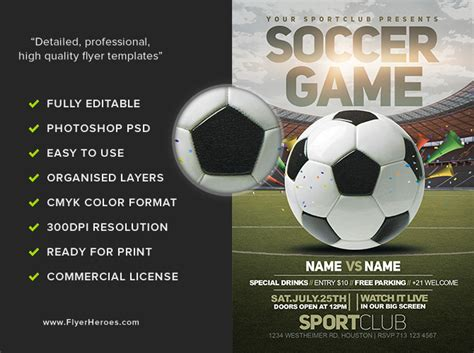 Soccer Game Flyer Template 2 Flyerheroes Soccer Flyer Template Free