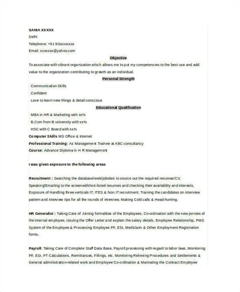 Mba Hr Resume Models by 52 Resume Format Sles Sle Templates