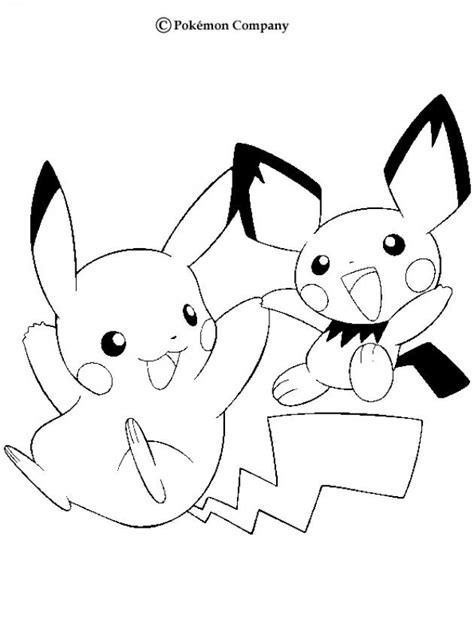 pokemon coloring pages pichu pikachu and pichu coloring pages hellokids com