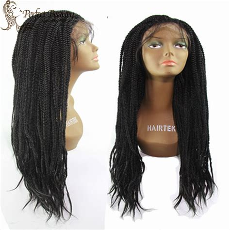 african box braided front lace wigs synthetic hair braided lace front wig with baby hair black