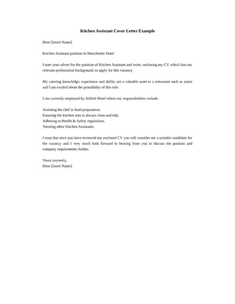 Assistant Kitchen Manager Cover Letter Kitchen Assistant Worker Cover Letter Sles And Templates