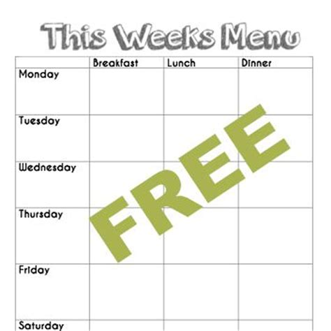 preschool menu template free blank menu planning template and weekly menu plan