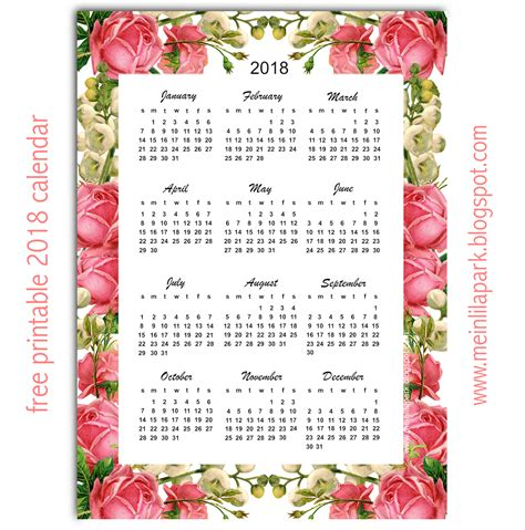 printable calendar year at a glance 2018 free printable 2018 calendar quot roses quot year at a glance