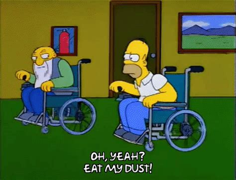 Wheel Chair Dimensions Homer Simpson Race Gif Find Amp Share On Giphy