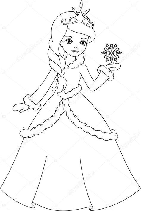 winter princess coloring page kış prenses boyama sayfası stok vekt 246 r 169 malyaka 53182711