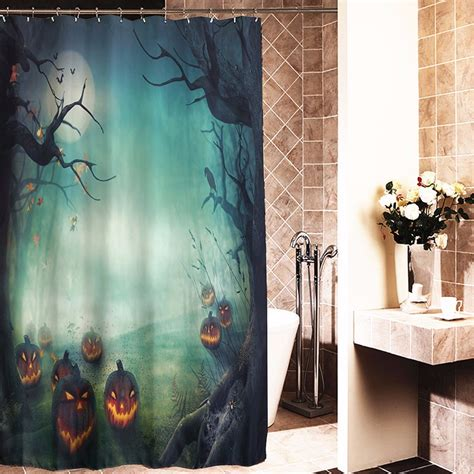 Bathroom Decor Shower Curtains 180x180cm Pumpkin Polyester Shower Curtain Bathroom Decor With 12 Hooks Alex Nld
