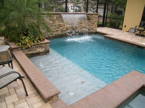 pool bench water features waterfalls sheers jets bubblers