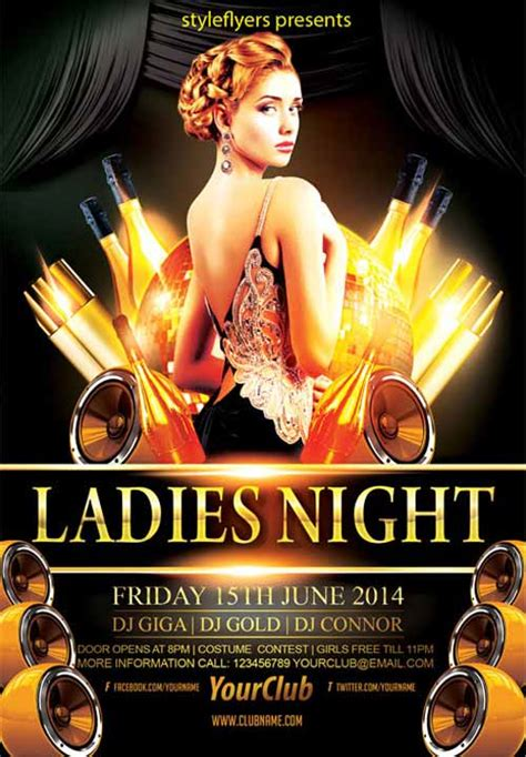 elegant ladies night party free flyer template