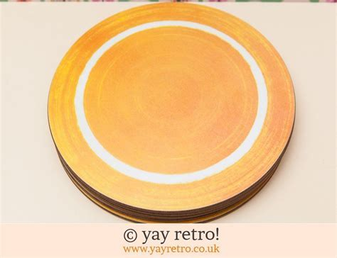 Orange Melamine Round Table Mats   Vintage Shop, Retro