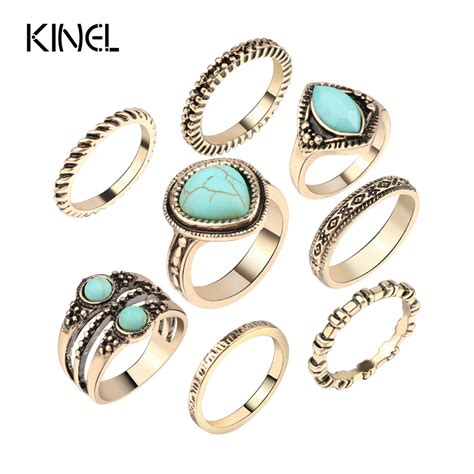 luxury 8pcs sets turquoise ring bohemian jewelry plated