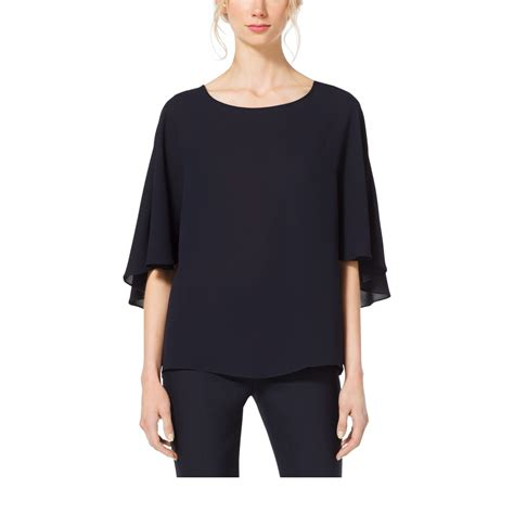 Michael Kors Navy Silk Blouse by Michael Kors Silk Georgette Cape Blouse In Blue Lyst