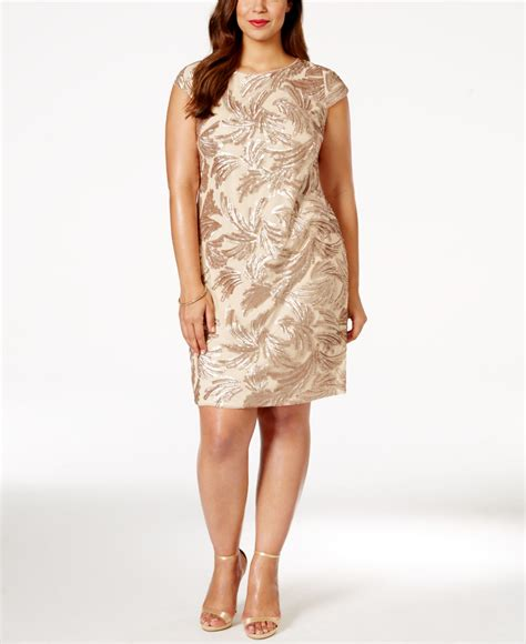 Sequined Sheath Dress papell plus size sequined sheath dress in