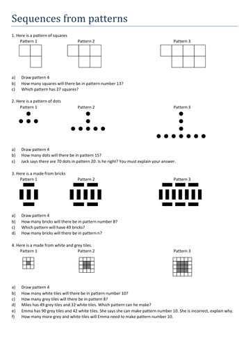 linear pattern questions maths worksheet sequences from patterns by tristanjones