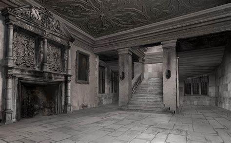 vestibulo de hogwarts deathly hallows part 1 concept art shows malfoy manor