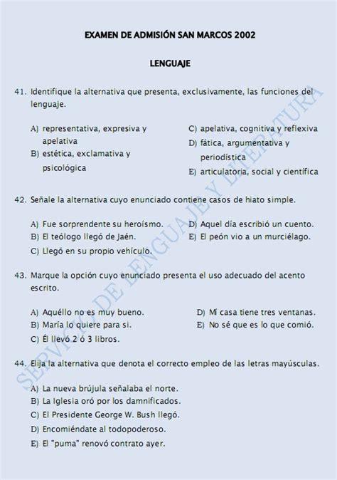 preguntas filosoficas para hacer ex 193 menes de admisi 211 n san marcos 2000 2010 lenguaje y