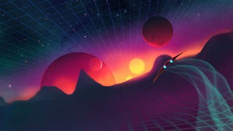 wallpaper synthwave landscape planets retrowave