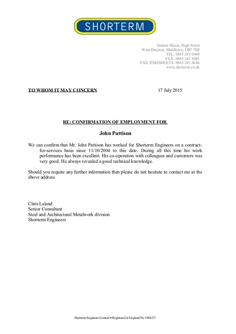 Employment Confirmation Letter From Employer Sle employment confirmation letter sle uk 28 images offer