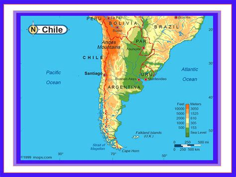 physical map of chile chile map and chile satellite images
