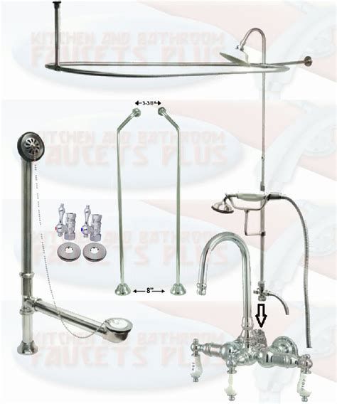 bathtub shower curtain surround chrome gooseneck clawfoot tub faucet package kit with