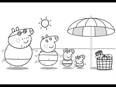 peppa pig at the beach coloring pages peppa pig family at the beach coloring book coloring pages