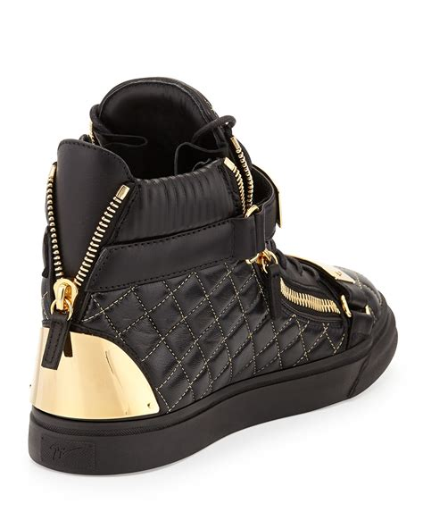 mens hi top sneakers giuseppe zanotti quilted leather high top sneakers in
