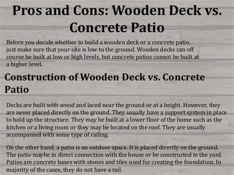 Cost Per Square Foot To Build A Home pros and cons wooden deck vs concrete patio