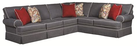 sofa with skirted base broyhill furniture emily traditional 3 piece sectional