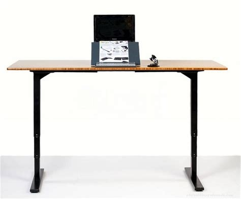 simple standing desk for computer in black legs