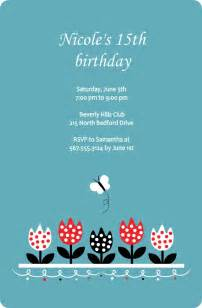 blue and tulips 15th birthday bash invitation images