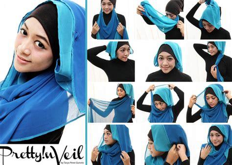 9 gambar tutorial berhijab modern dan contoh gambar tutorial hijab modern dan mudah new