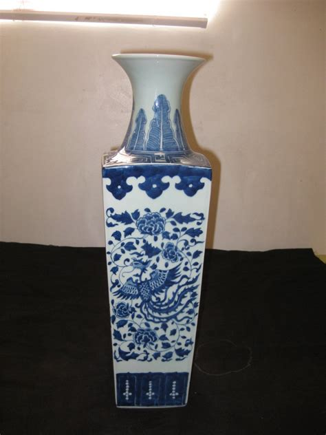 antique chinese porcelain large square blue  white