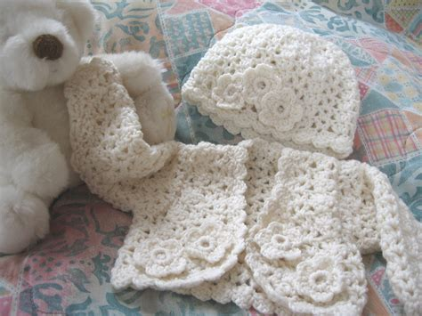 Crochet Set crochet baby sweater set cardigan hat newborn to 3 months