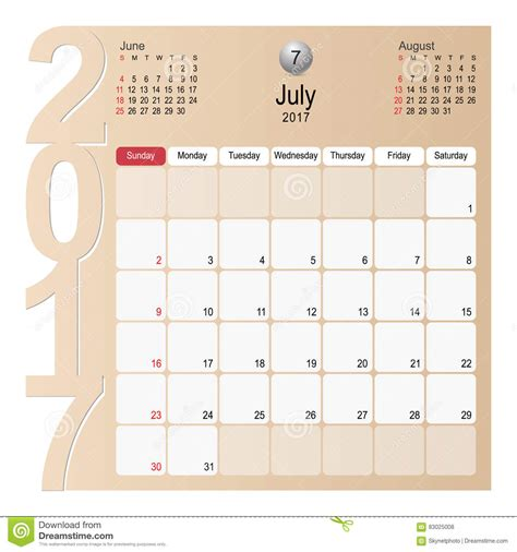 time design planner calendar planner design july 2017 stock vector image
