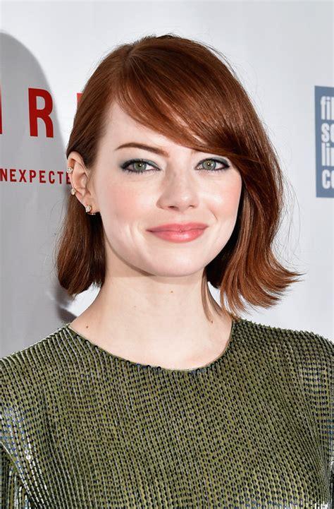 emma stone face shape hair alert best bangs for your face shape huffpost