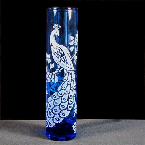 Vase Engraved Gift by Peacock Wedding Bud Vase Blue Etched Glass Engraved Gift For