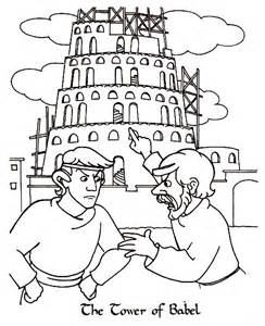 tower of babel coloring page two argue in front of tower of babel coloring page