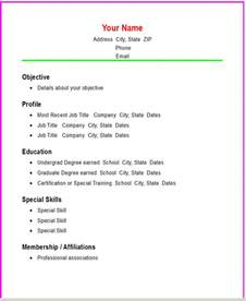 Simple Resume Templates Word by Basic Chronological Resume Template Open Resume Templates