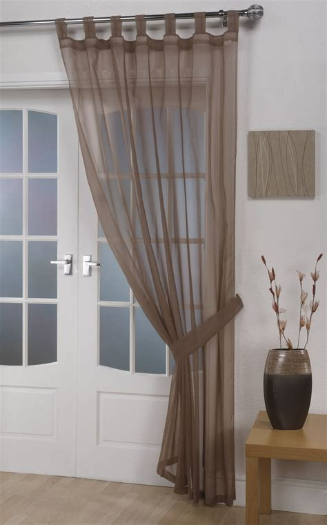 voile curtains voile panels opaque mocha tab top curtain panel